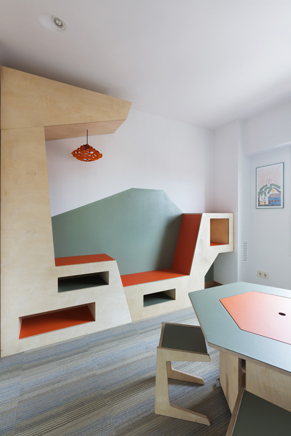 kids room furniture in green and orange colour