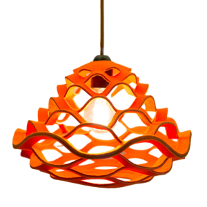lamp made from 100% wool felt in bright orange color
