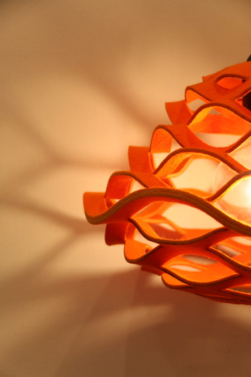 orange felt lamp close up