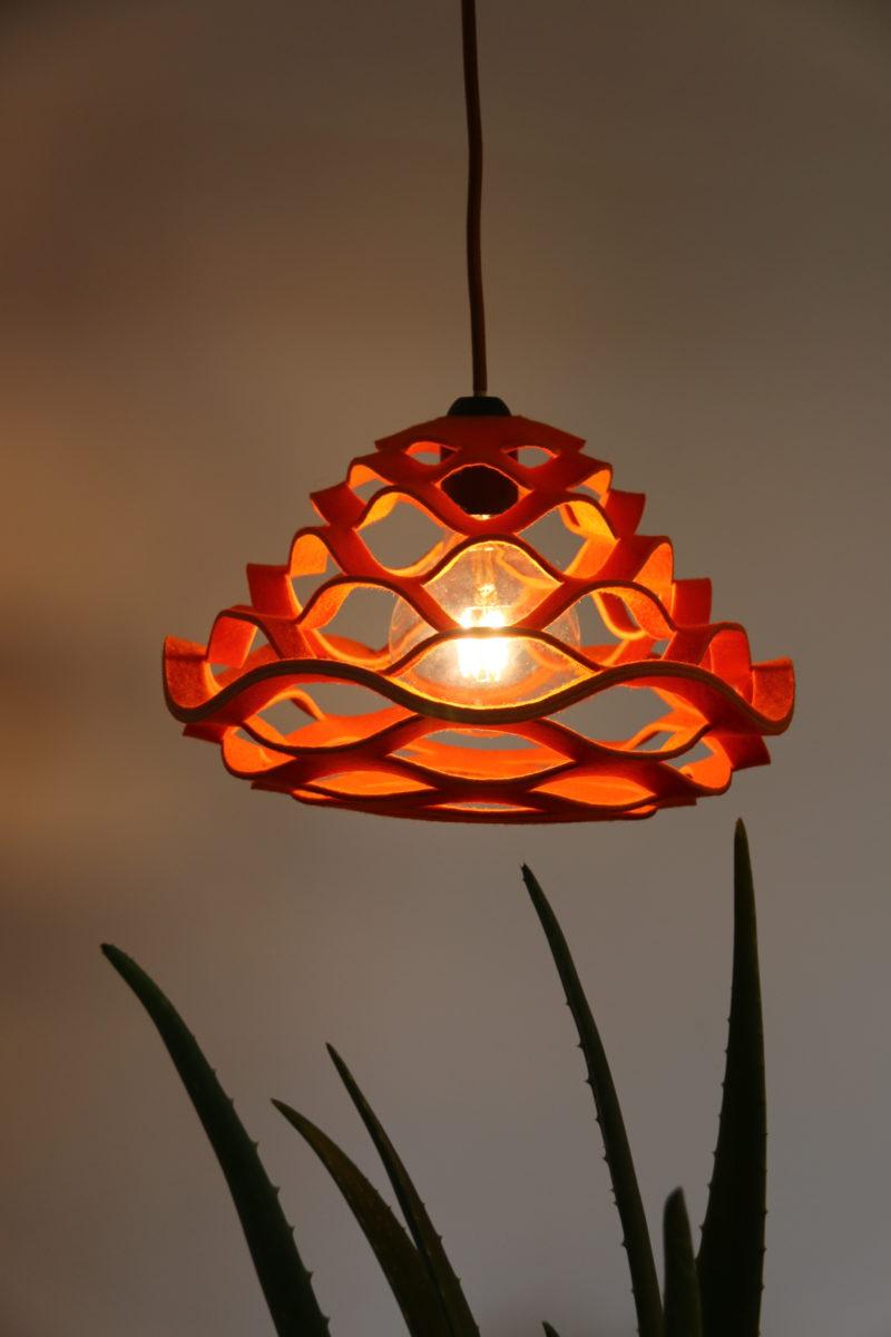 felt lamp with plant