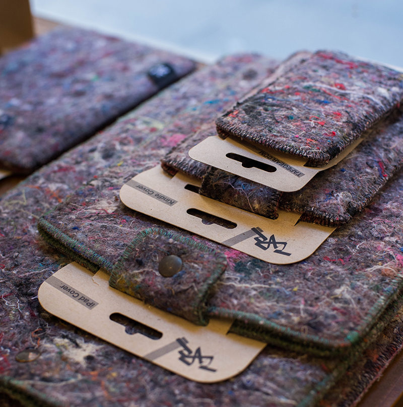 shred computer sleeves made from recycled fabric