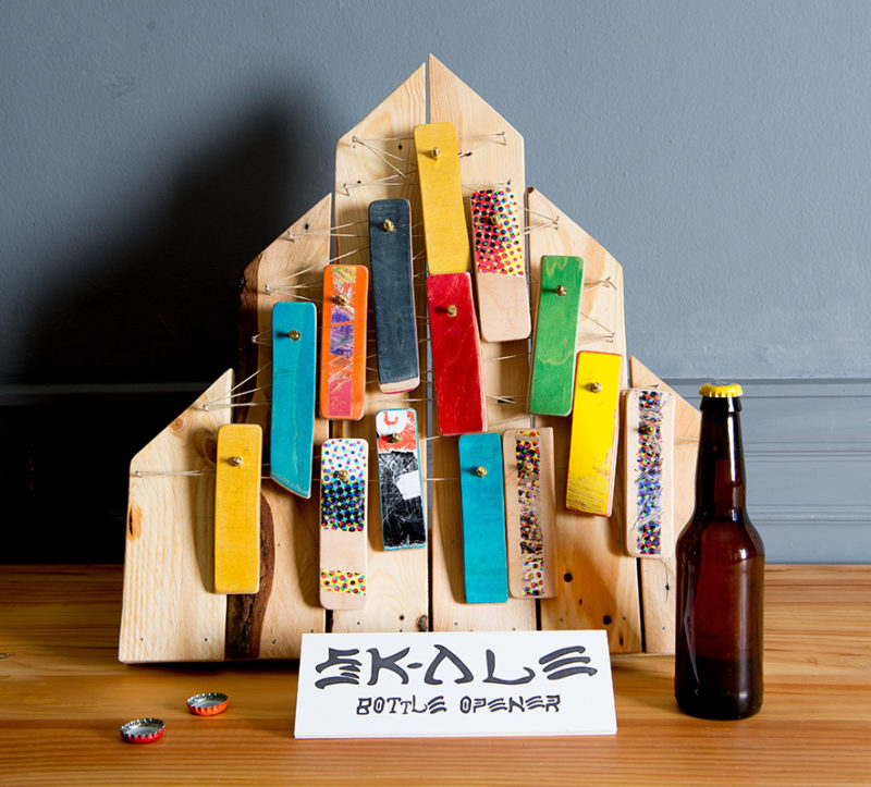 bottle opener made from recycled skateboards