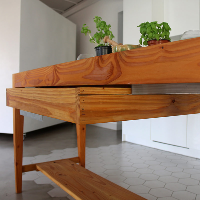 close up wooden kitchen island table