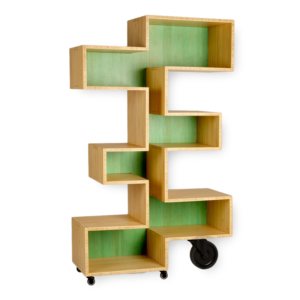 zigzag shaped wooden shelf on wheels