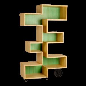zigzag shaped wooden shelf on wheels