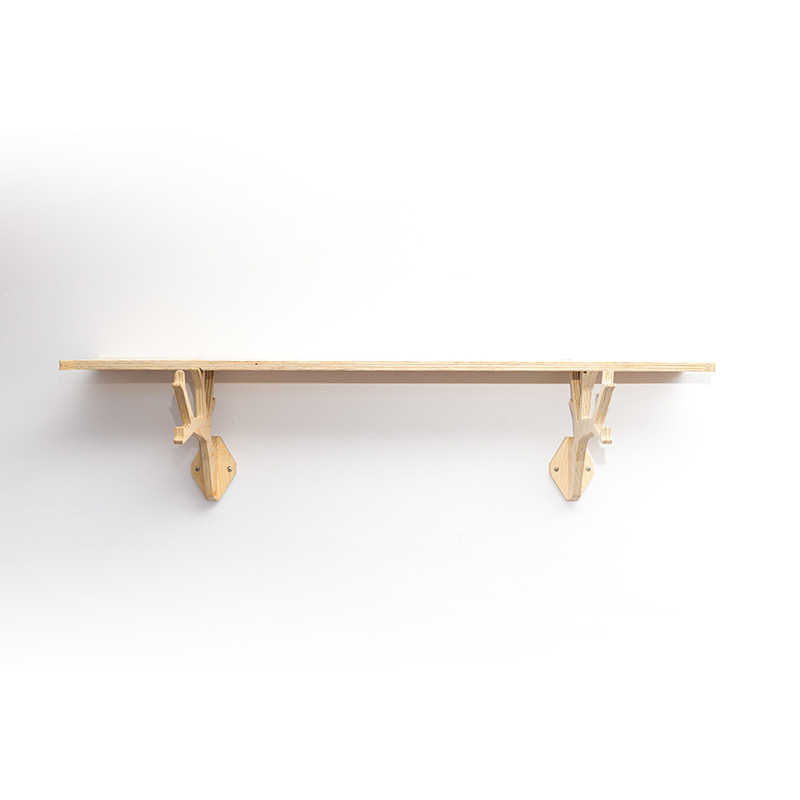 wooden tree shaped shelving system in natural finish