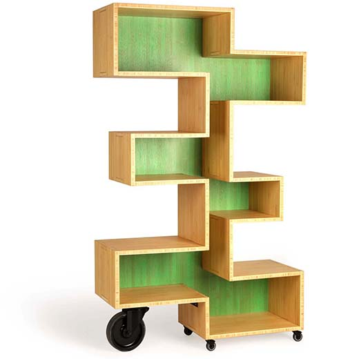 zigzag shaped mobile shelf