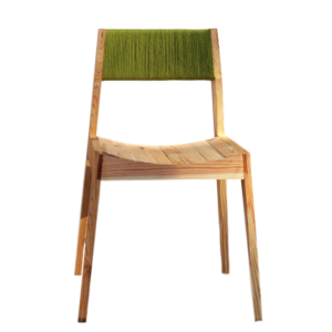wooden chair with green wool backrest
