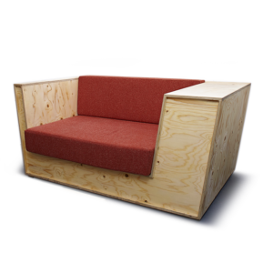 wooden sofa in a box shape