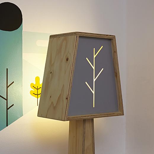 designer wooden floor lamp