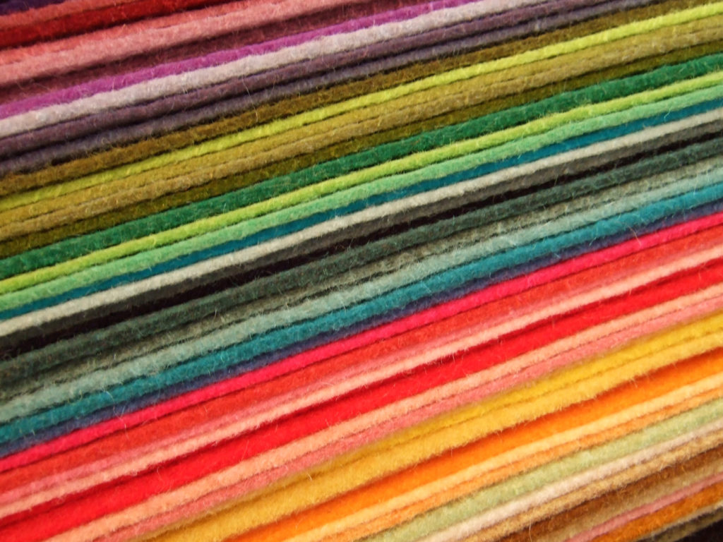 different colourful layers of wool felt