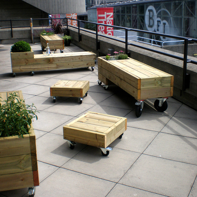 chunky outdoor furniture on wheels