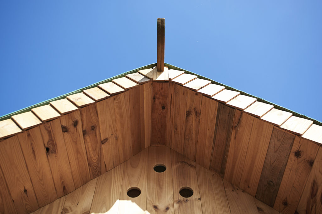 close up of tiny house roof