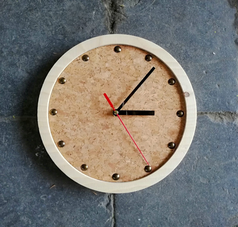 tock wall clock with cork face