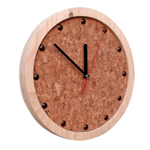 wooden all clock with cork face