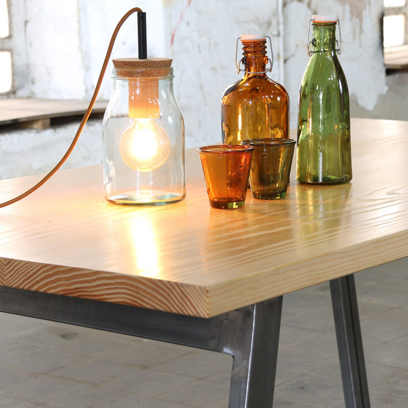 table lamp with glass bottles