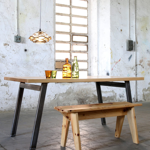 wooden table with steel legs and wooden bench