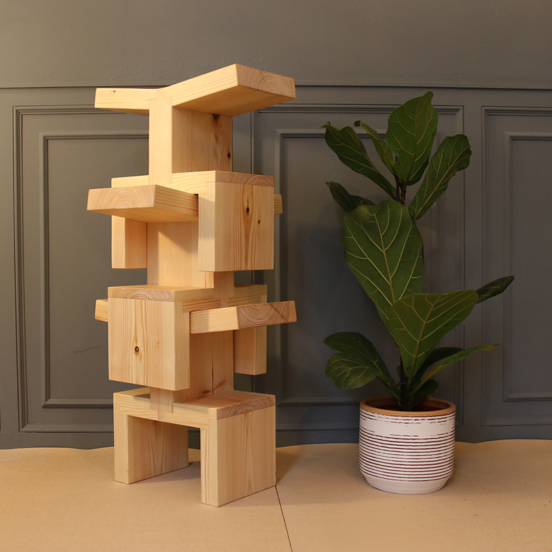 wooden stools stacked