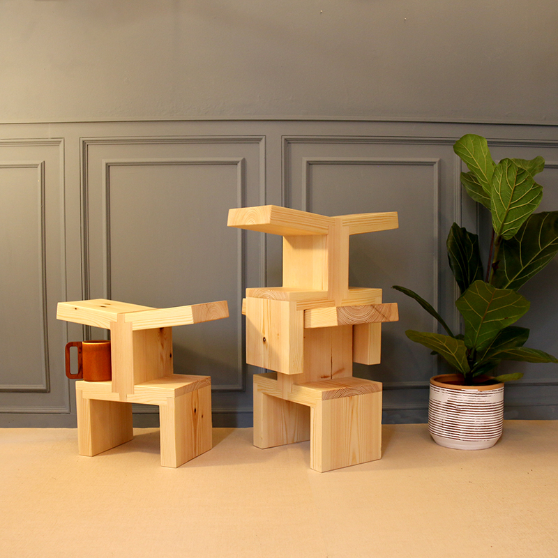wooden stacking stool