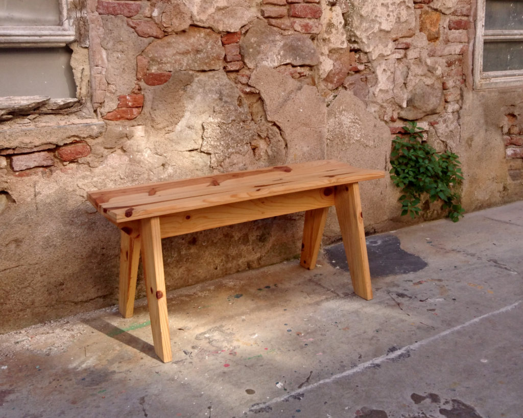 bench made from recycled wood