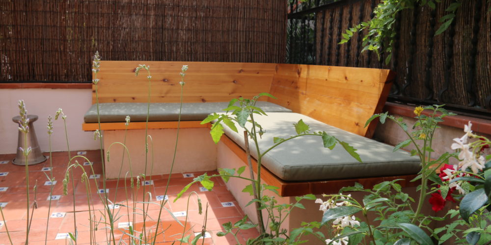 wooden bench in backyard conversion