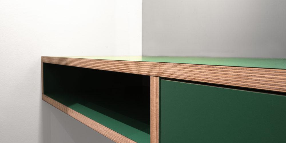 green shelf in kids room