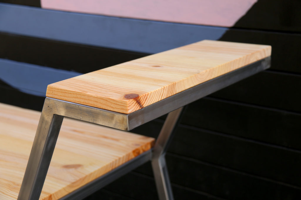 ledge bench made from steel and pine wood
